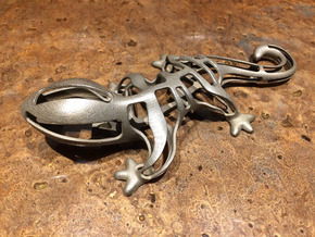 Bottle Opener - Lizard in Polished Bronzed Silver Steel