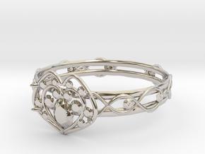 Heart ring(Japan 10,USA 5.5,Britain K)  in Rhodium Plated Brass
