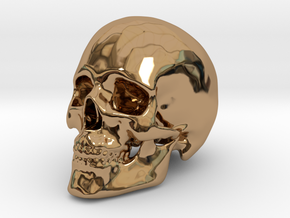 Human Skull in Polished Brass