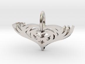 Mom Pendant Heart in Platinum