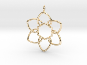 Heart Petals 6 Points - 5cm - wLoopet in 14K Yellow Gold