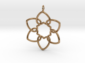 Heart Petals 6 Points - 5cm - wLoopet in Polished Brass