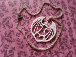 Lovingly Batty Pendant in White Processed Versatile Plastic