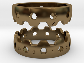 Hex Reminder Ring Size 12 in Polished Bronze