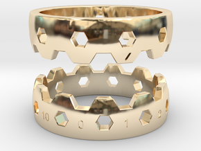 Hex Reminder Ring Size 12 in 14k Gold Plated Brass