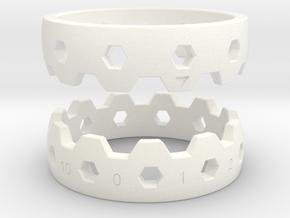 Hex Reminder Ring Size 12 in White Processed Versatile Plastic