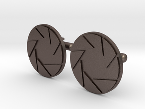 APETURE CUFF LINKS in Polished Bronzed Silver Steel