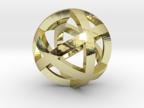 0401 Spherical Cuboctahedron (d=2.2cm) #001 in 18k Gold Plated Brass