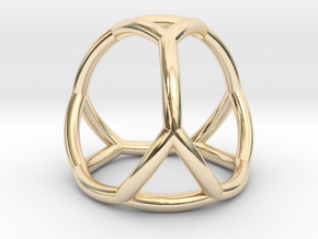 0406 Spherical Truncated Tetrahedron #002 in 14k Gold Plated Brass