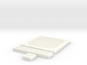 SciFi Tile 23 - Alternate Diamond plate in White Processed Versatile Plastic