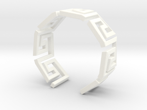 Greek Meandros ring - size 7 in White Processed Versatile Plastic