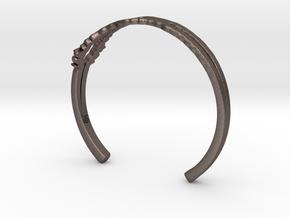 I Love You Sound Wave | Wrist Cuff in Polished Bronzed Silver Steel: Medium