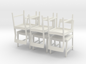 1:24 Danish Modern Chair Set in White Natural Versatile Plastic