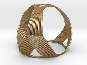 0407 Spherical Truncated Tetrahedron #003 in Polished Gold Steel