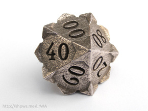 'Starry' 10D10 Die (Decader of Percentile D10) in Polished Bronzed Silver Steel