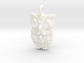 Smiley Owl Pendant in White Processed Versatile Plastic