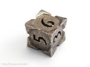 'Starry' D6, balanced die in Polished Bronzed Silver Steel