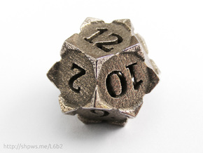 'Starry' D12 balanced die in Stainless Steel