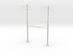 PRR CATENARY HO SCALE 2TRK CURVED STEADY 2 PH in White Natural Versatile Plastic