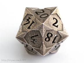 'Starry' D20 Balanced Gaming Die in Polished Bronzed Silver Steel