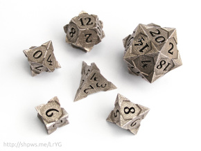 'Starry' Gaming Die Set: D20, D12, D10, D8, D6, D4 in Polished Bronzed Silver Steel