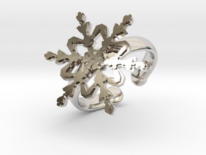 Snowflake Ring 2 d=16.5mm Adjustable h35d165a in Rhodium Plated Brass