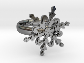Snowflake Ring 2 d=16mm h35d16 in Fine Detail Polished Silver