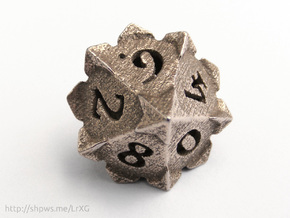 'Starry' D10 balanced die  in Polished Bronzed Silver Steel