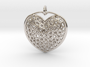 Heart Pendant in Rhodium Plated Brass
