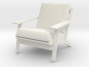 1:24 Wegner Lounge Chair in White Natural Versatile Plastic