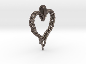 Celtic Unraveled Heart  in Polished Bronzed Silver Steel