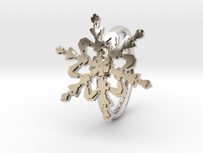 Snowflake Ring 2 d=16mm h21d16 in Rhodium Plated Brass