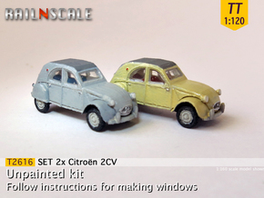 SET 2x Citroën 2CV '61-'65 (TT 1:120) in Smooth Fine Detail Plastic