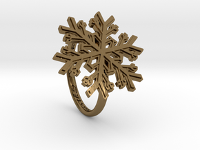 Snowflake Ring 1 d=17mm h21d17 in Polished Bronze