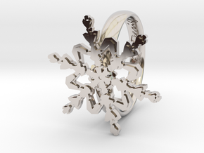 Snowflake Ring 2 d=18mm h35d18 in Rhodium Plated Brass