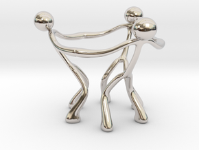 Stickman Egg Cup in Rhodium Plated Brass