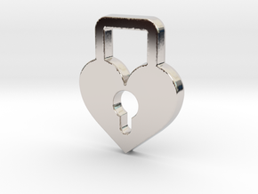 Heart Lock Pendant - Amour Collection in Rhodium Plated Brass
