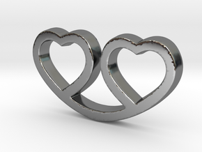 Two Hearts Together Pendant - Amour Collection in Fine Detail Polished Silver