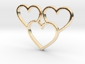 Trio of Hearts Pendant - Amour Collection in 14K Yellow Gold