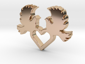 Doves with Heart V1 Pendant - Amour Collection in 14k Rose Gold Plated Brass
