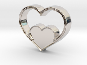 Two Hearts in One Pendant - Amour Collection in Platinum