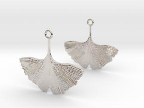 Ginkgo Leaf Earring in Rhodium Plated Brass