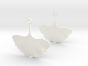 Ginkgo Leaf Earring in White Processed Versatile Plastic