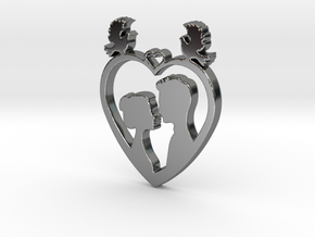 Two in a Heart with Doves V1 Pendant - Amour in Fine Detail Polished Silver