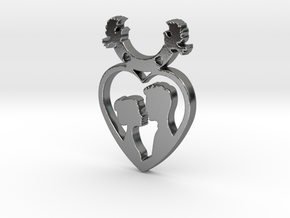 Two in One Heart with Doves V2 Pendant - Amour in Polished Silver