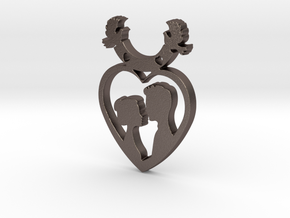 Two in One Heart with Doves V2 Pendant - Amour in Polished Bronzed Silver Steel