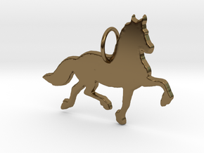 Friesian horse silhouette pendant made by 3d print in Polished Bronze