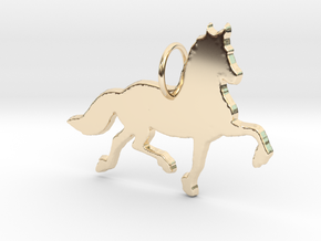 Friesian horse silhouette pendant made by 3d print in 14k Gold Plated Brass