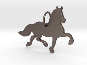 Friesian horse silhouette pendant made by 3d print in Polished Bronzed Silver Steel