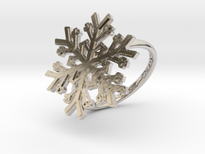 Snowflake Ring 1 d=18mm h21d18 in Rhodium Plated Brass